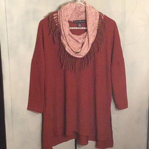 French Landry cowl sweater with scarf